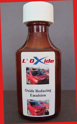 L'Oxide is an emulsion that will react with and remove oxidation on car paints and clear coats.