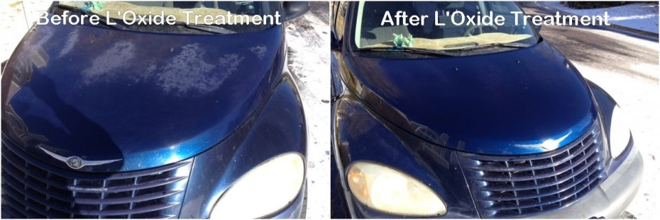 Photos showing mild to severe oxidized car paint before and after applying oxide reducing emulsion to the hood of a dark blue PT Cruiser.