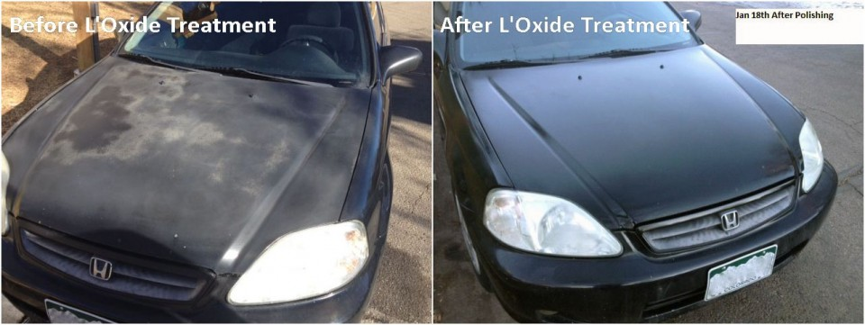 Photos showing severely oxidized car paint and clear coat failure before and after applying oxide reducing emulsion to the hood of a black Honda.