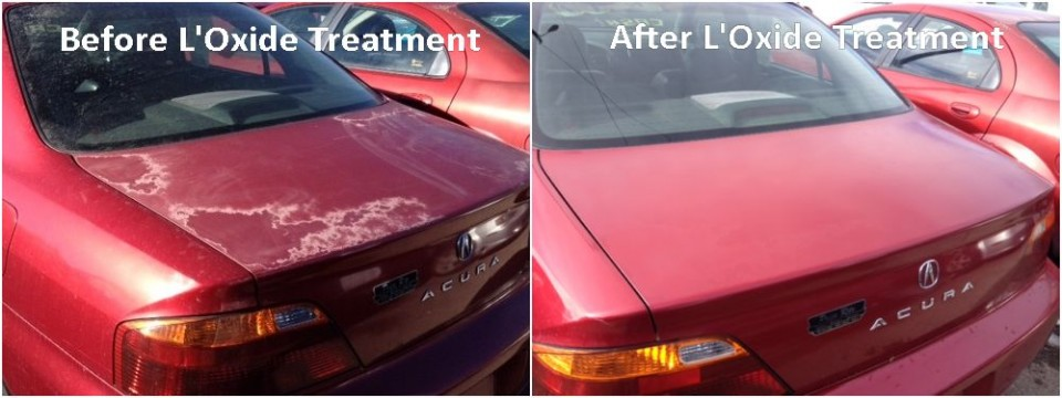 Photos showing severely oxidized car paint and clear coat failure before and after applying oxide reducing emulsion to the trunk of a red Acura sedan.