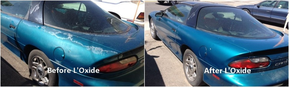 Photos showing oxidized car paint and clear coat peeling before and after applying oxide reducing emulsion to a teal green Camaro.