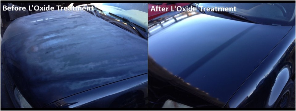 Photos showing oxidized and faded car paint before and after applying oxide reducing emulsion to the hood of a Volkswagen.