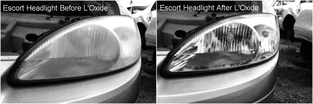 Cleaning headlight lens and removing cloudy oxidation from a late model Ford Escort using L'Oxide