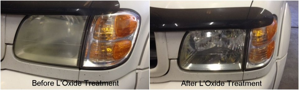 Headlight restoration and cloudy headlight repair using L'Oxide - Toyota Sequoia