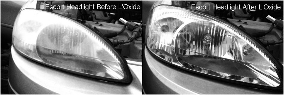 Polishing headlights and fixing headlight haze on a late model Ford Escort using L'Oxide