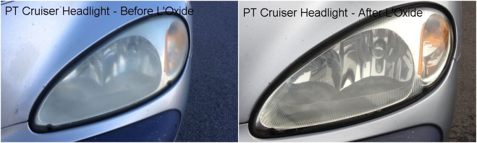 Repair oxidized cloudy headlight lenses with L'Oxide - PT Cruiser
