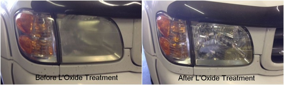 Restoring dull cloudy headlight lenses and fixing headlight haze using L'Oxide - Toyota Sequoia
